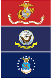 Marine Corps, Navy, Air Force Flags